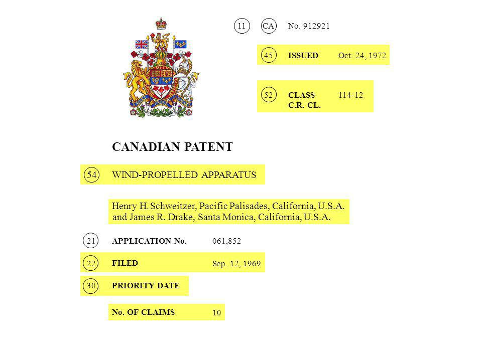 CANADIAN PATENT Henry H.Schweitzer, Pacific Palisades, California, U.S.A.