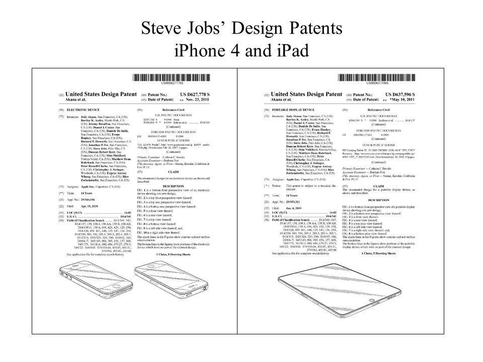 Steve Jobs' Design Patents iPhone 4 and iPad