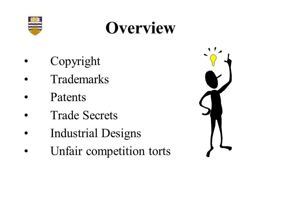 Overview Copyright Trademarks Patents Trade Secrets Industrial Designs Unfair competition torts