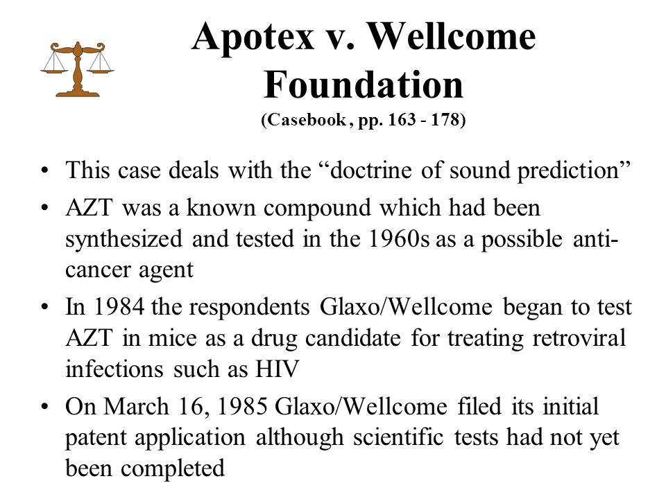 Apotex v. Wellcome Foundation (Casebook, pp.