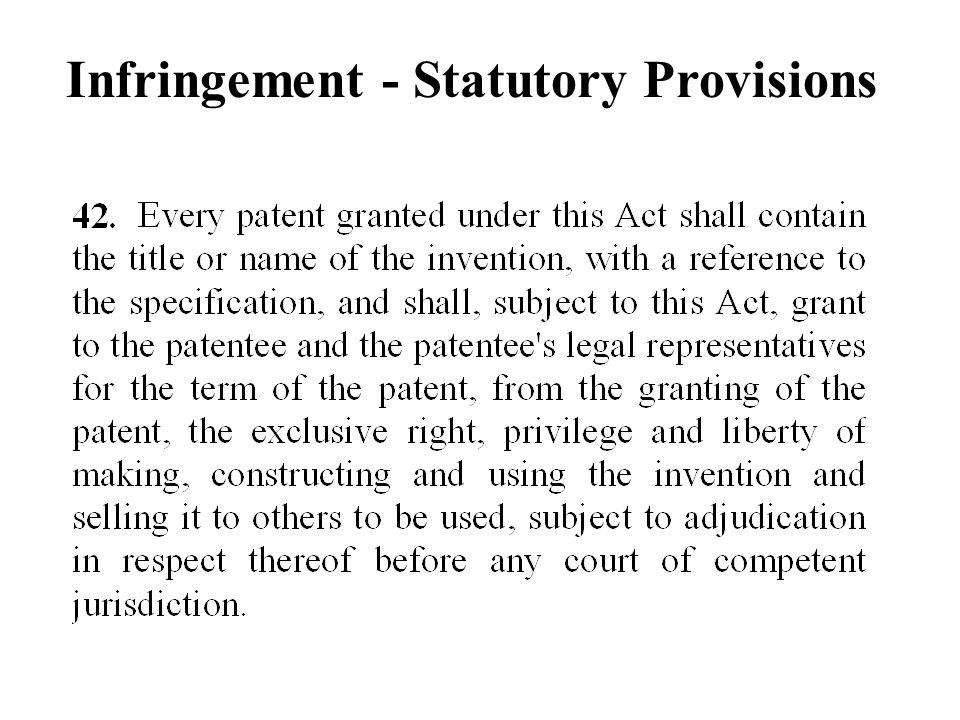 Infringement - Statutory Provisions