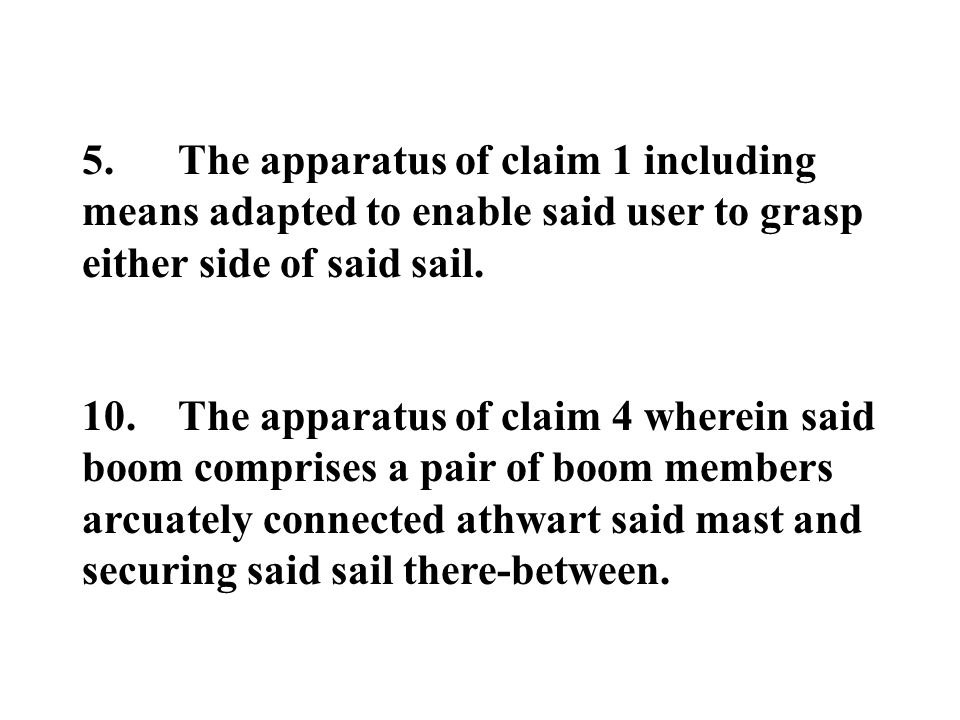 5.The apparatus of claim 1 including means adapted to enable said user to grasp either side of said sail. 10.The apparatus of claim 4 wherein said boo
