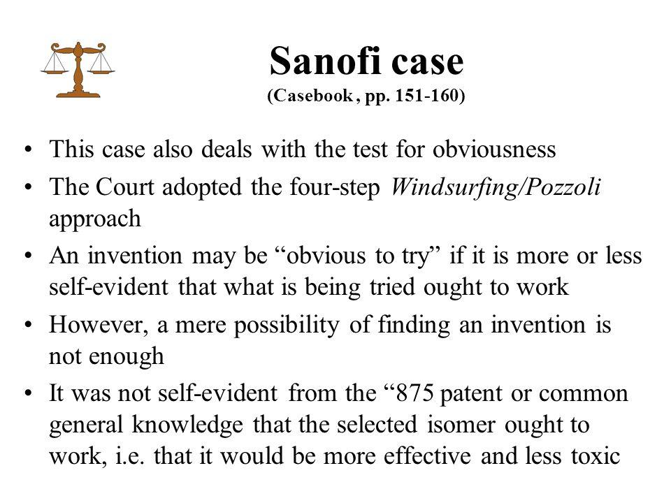 Sanofi case (Casebook, pp.