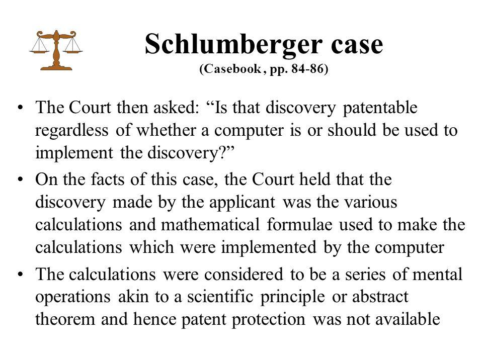 Schlumberger case (Casebook, pp.