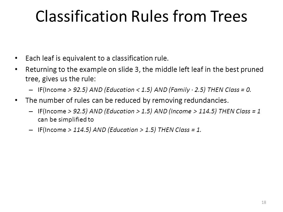 Classification Rules from Trees Each leaf is equivalent to a classification rule. Returning to the example on slide 3, the middle left leaf in the bes