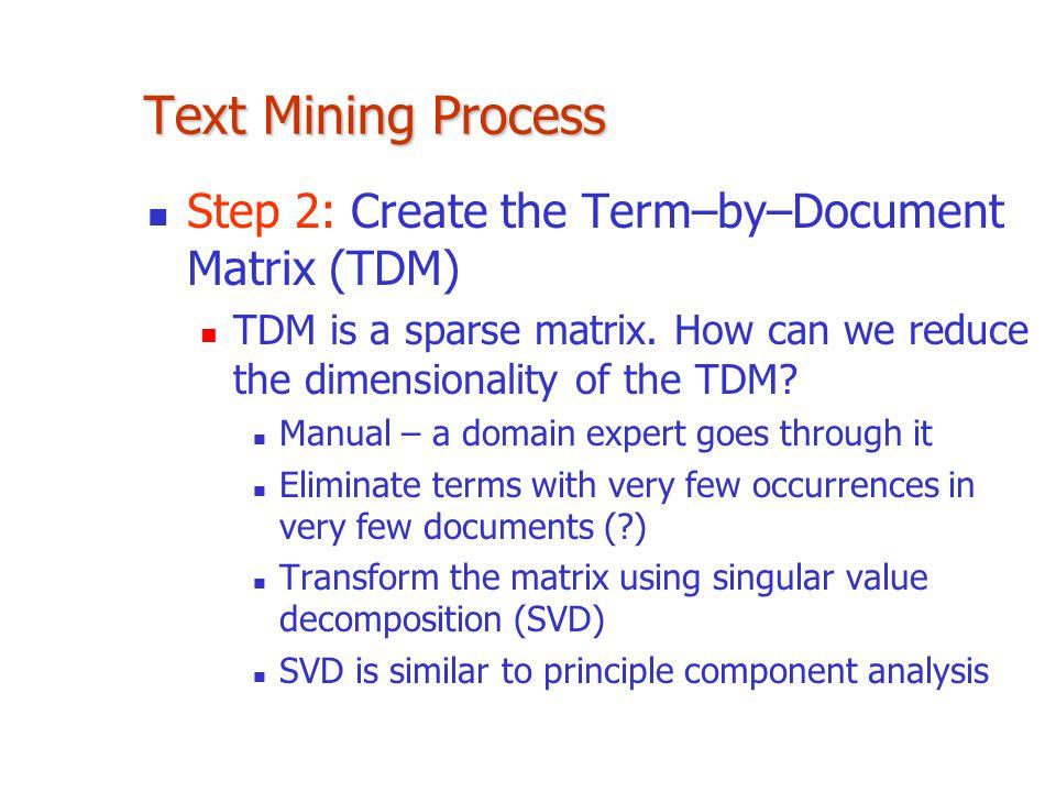 Text Mining Process Step 2: Create the Term–by–Document Matrix (TDM) TDM is a sparse matrix.