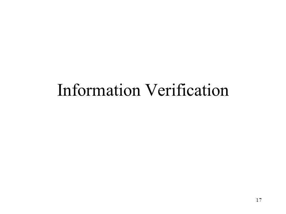 17 Information Verification