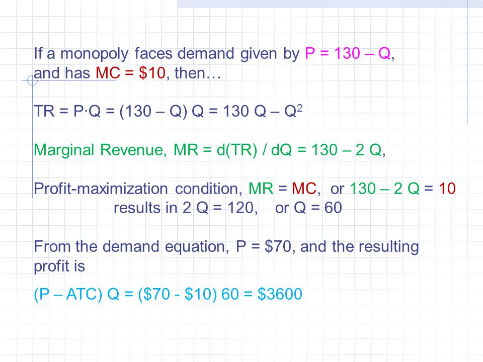 If a monopoly faces demand given by P = 130 – Q, and has MC = $10, then… TR = P∙Q = (130 – Q) Q = 130 Q – Q 2 Marginal Revenue, MR = d(TR) / dQ = 130 – 2 Q, Profit-maximization condition, MR = MC, or 130 – 2 Q = 10 results in 2 Q = 120,or Q = 60 From the demand equation, P = $70, and the resulting profit is (P – ATC) Q = ($70 - $10) 60 = $3600