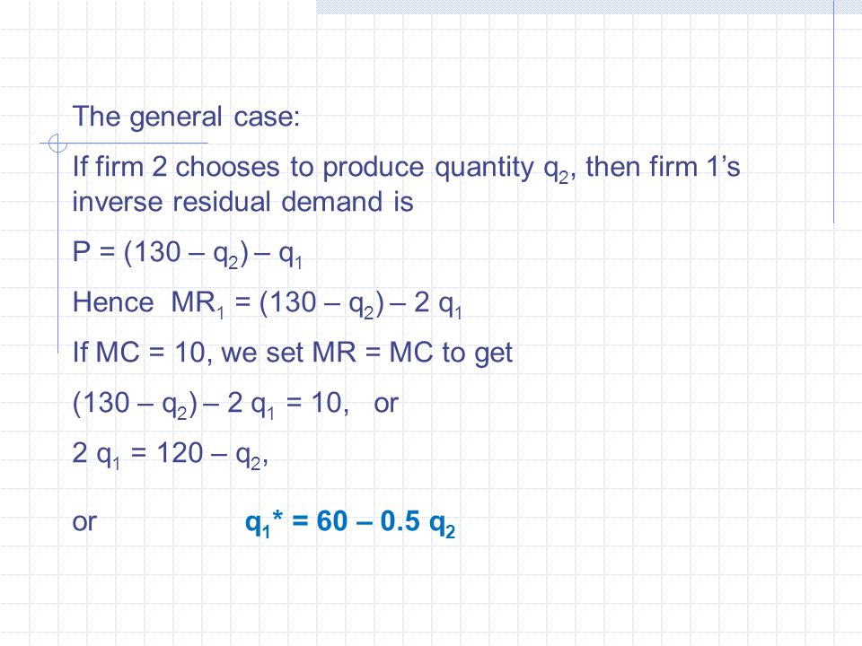 The general case: If firm 2 chooses to produce quantity q 2, then firm 1's inverse residual demand is P = (130 – q 2 ) – q 1 Hence MR 1 = (130 – q 2 ) – 2 q 1 If MC = 10, we set MR = MC to get (130 – q 2 ) – 2 q 1 = 10, or 2 q 1 = 120 – q 2, or q 1 * = 60 – 0.5 q 2