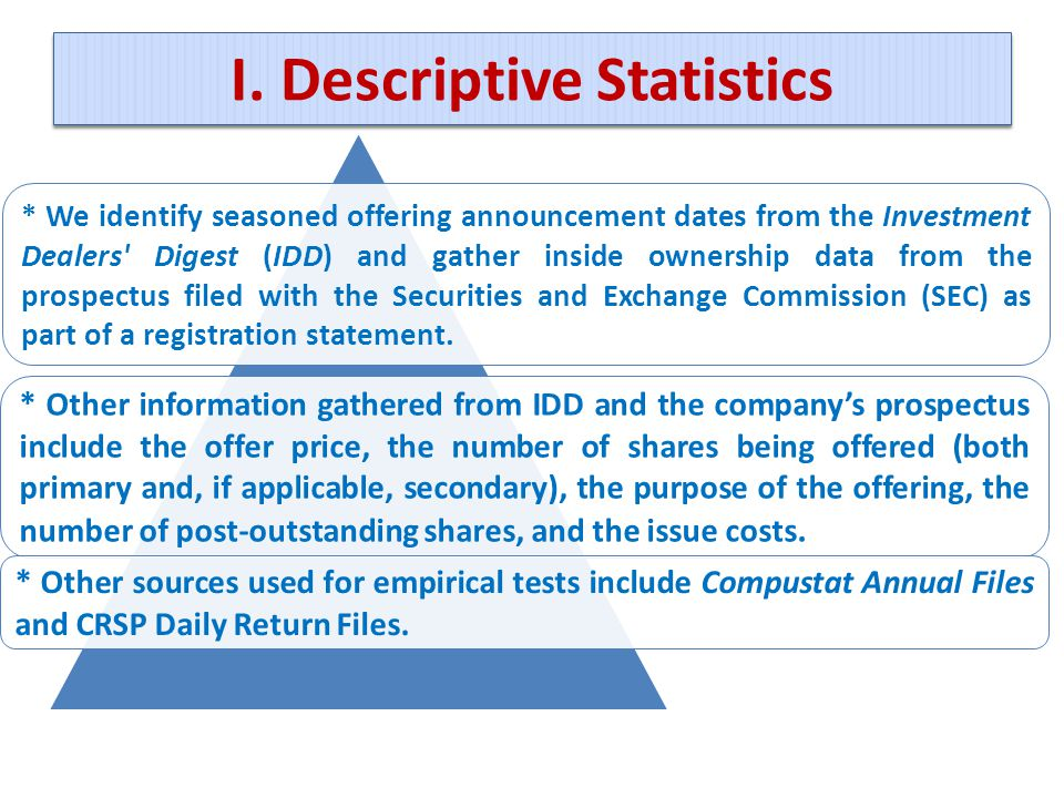 I. Descriptive Statistics * We identify seasoned offering announcement dates from the Investment Dealers' Digest (IDD) and gather inside ownership dat