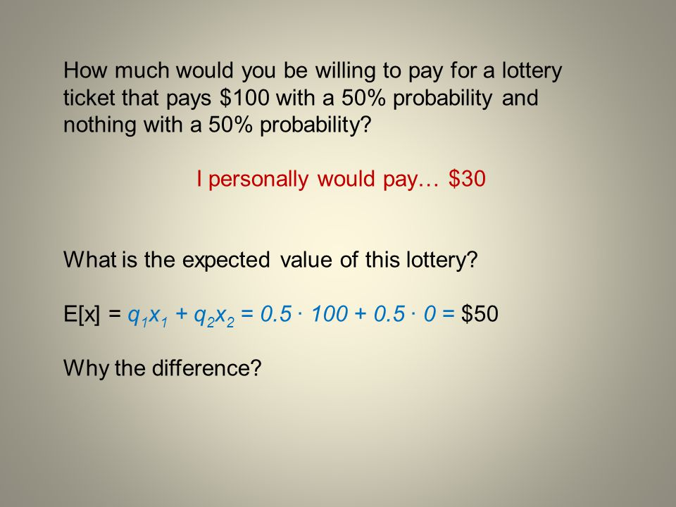 How much would you be willing to pay for a lottery ticket that pays $100 with a 50% probability and nothing with a 50% probability? I personally would