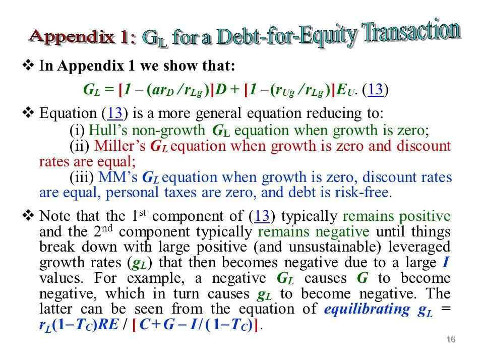  Starting Point: G L = V L  V U where V L is leveraged firm value and V U is unleveraged firm value.  V U = (1  T E )(1  T C )C/r Ug where C is t