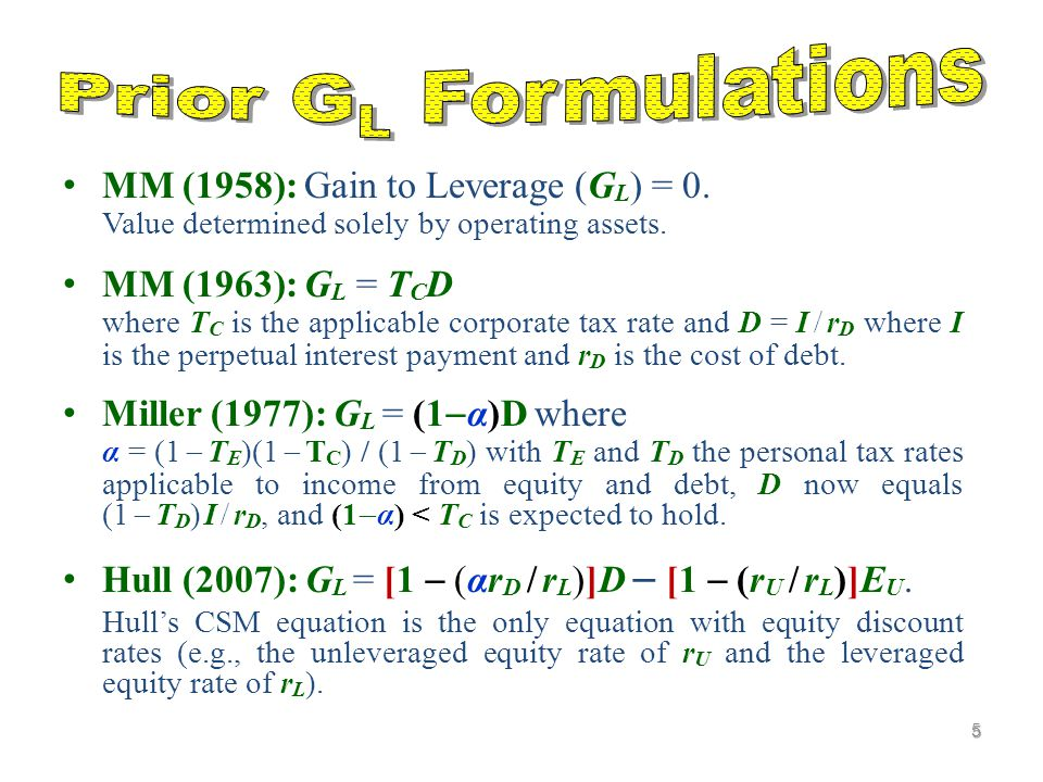 MM (1958): Gain to Leverage (G L ) = 0.Value determined solely by operating assets.