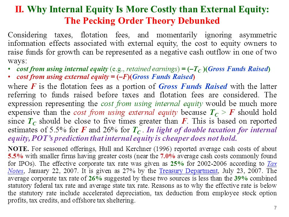 Considering taxes, flotation fees, and momentarily ignoring asymmetric information effects associated with external equity, the cost to equity owners to raise funds for growth can be represented as a negative cash outflow in one of two ways: cost from using internal equity (e.g., retained earnings) = (–T C )(Gross Funds Raised) cost from using external equity = (–F)(Gross Funds Raised) where F is the flotation fees as a portion of Gross Funds Raised with the latter referring to funds raised before taxes and flotation fees are considered.