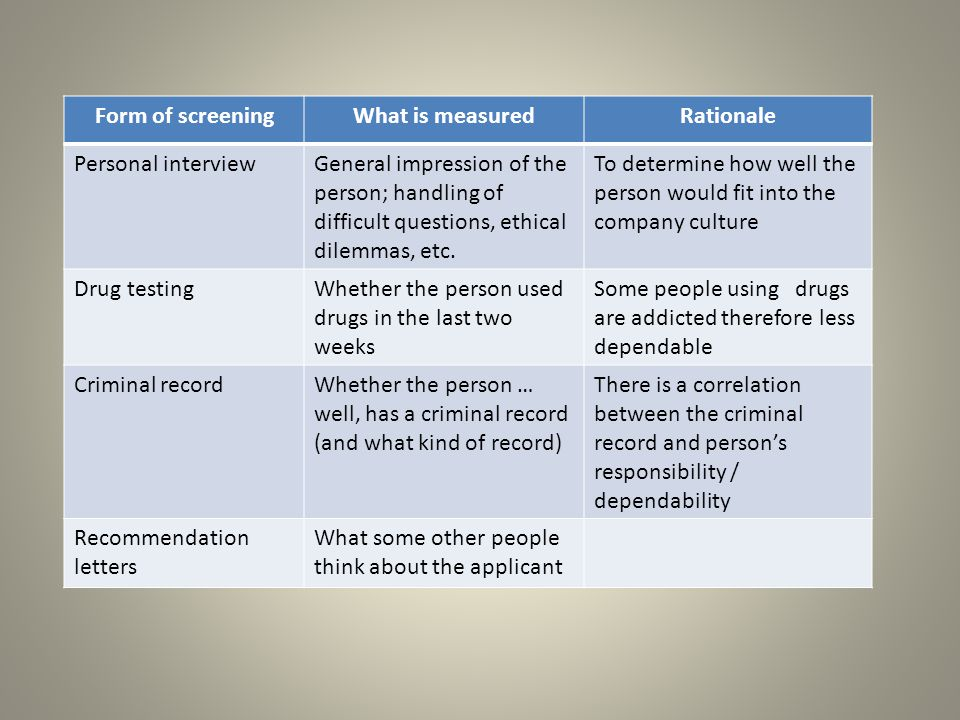 Form of screeningWhat is measuredRationale Personal interviewGeneral impression of the person; handling of difficult questions, ethical dilemmas, etc.