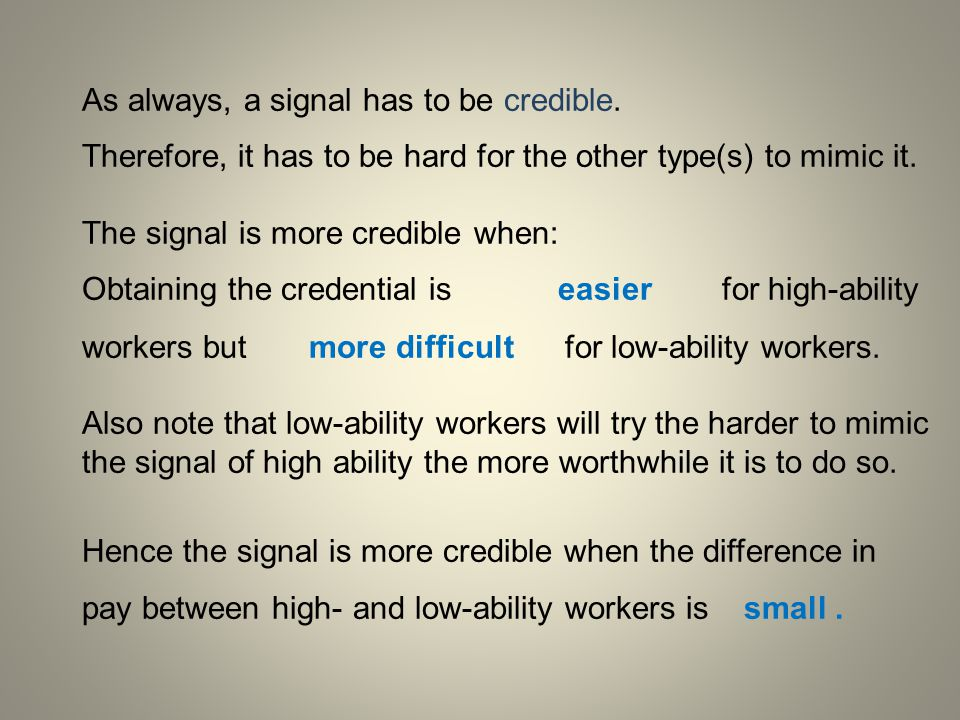 As always, a signal has to be credible.