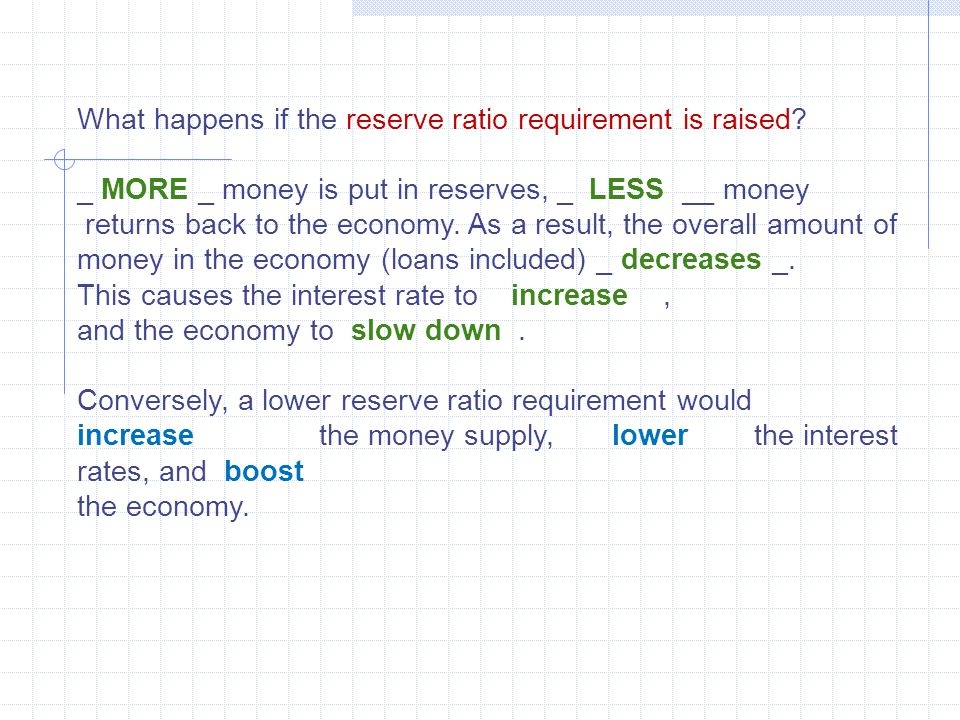 What happens if the reserve ratio requirement is raised? _ MORE _ money is put in reserves, _ LESS __ money returns back to the economy. As a result,