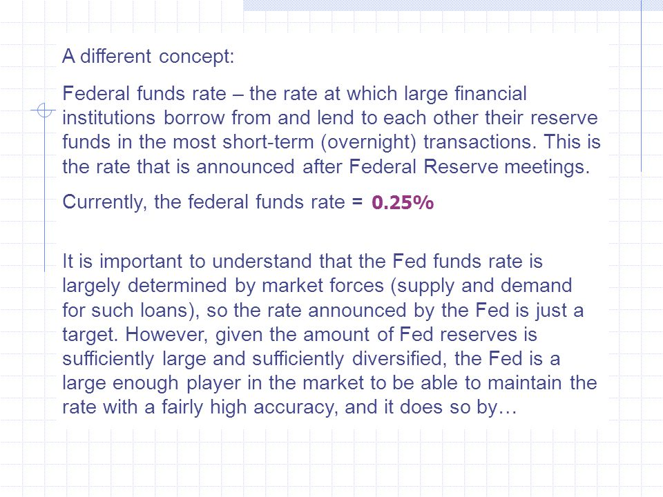 A different concept: Federal funds rate – the rate at which large financial institutions borrow from and lend to each other their reserve funds in the