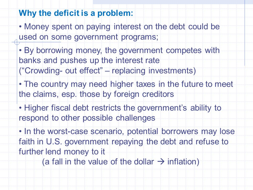 Why the deficit is a problem: Money spent on paying interest on the debt could be used on some government programs; By borrowing money, the government