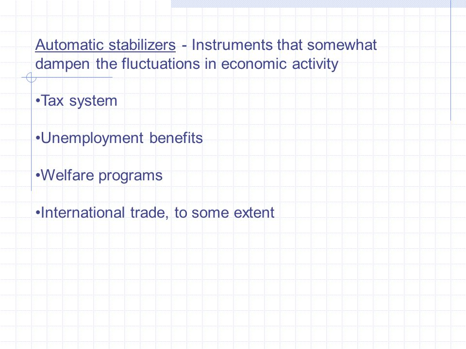 Automatic stabilizers - Instruments that somewhat dampen the fluctuations in economic activity Tax system Unemployment benefits Welfare programs Inter