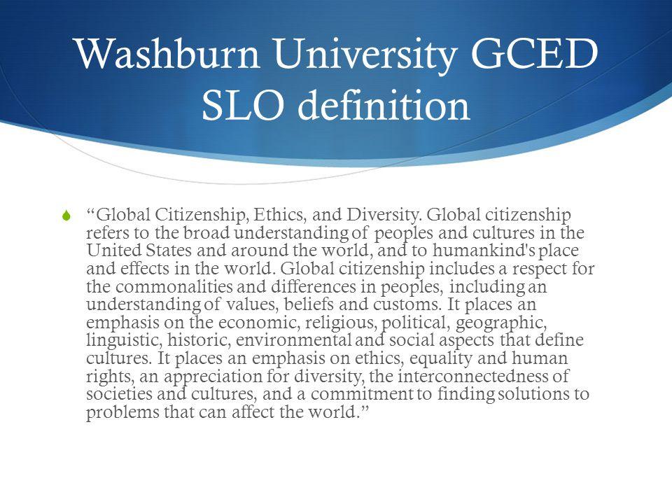 Washburn University GCED SLO definition  Global Citizenship, Ethics, and Diversity.