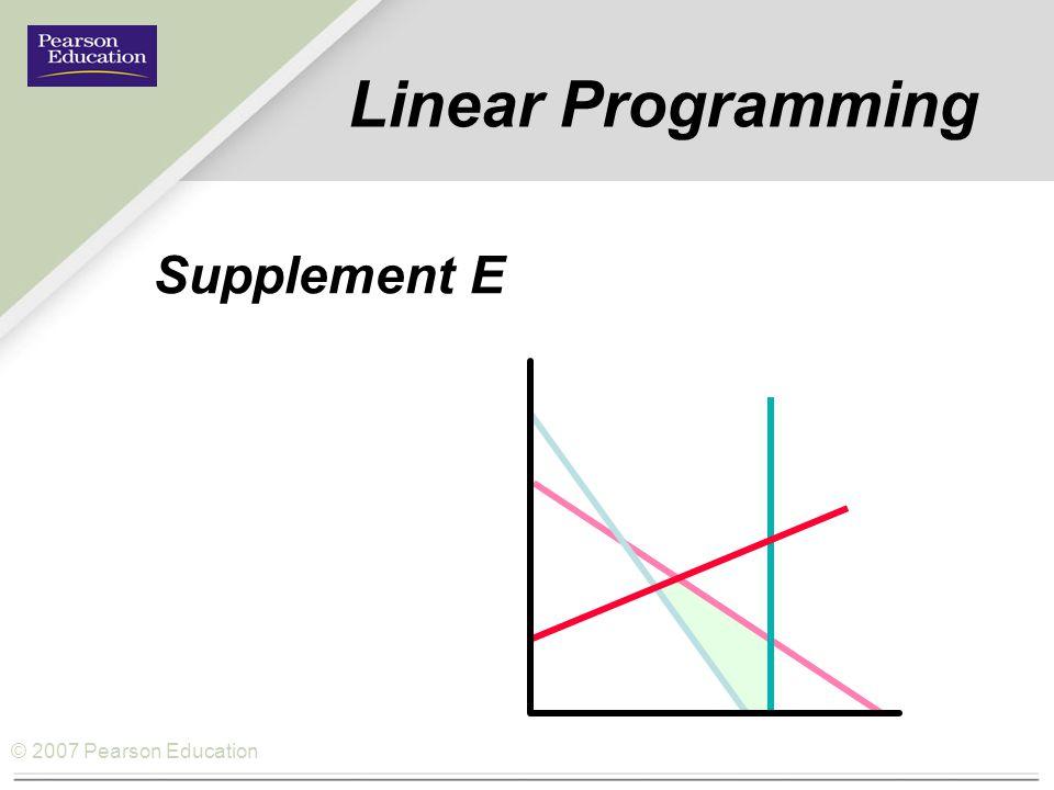 © 2007 Pearson Education Linear Programming Supplement E