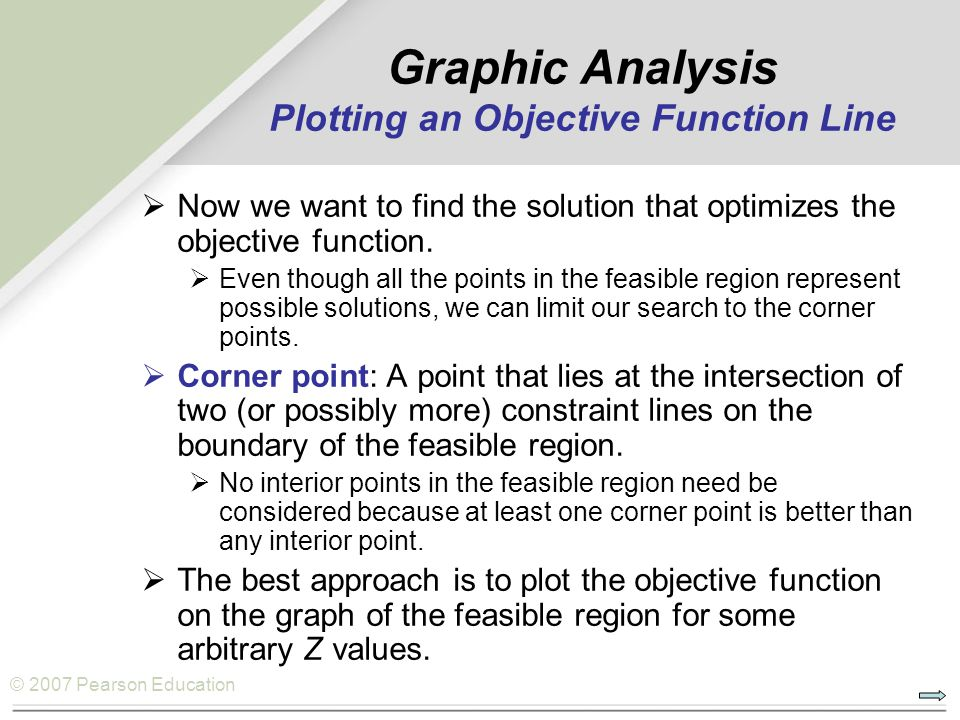 © 2007 Pearson Education  Now we want to find the solution that optimizes the objective function.  Even though all the points in the feasible region
