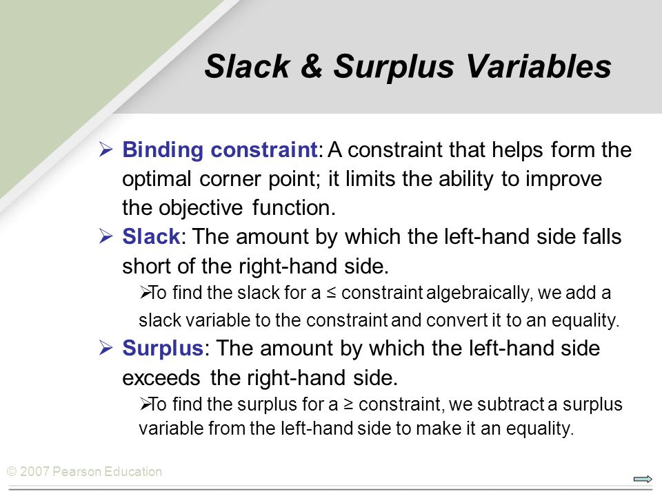 © 2007 Pearson Education Slack & Surplus Variables  Binding constraint: A constraint that helps form the optimal corner point; it limits the ability
