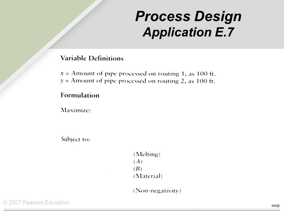 © 2007 Pearson Education Process Design Application E.7