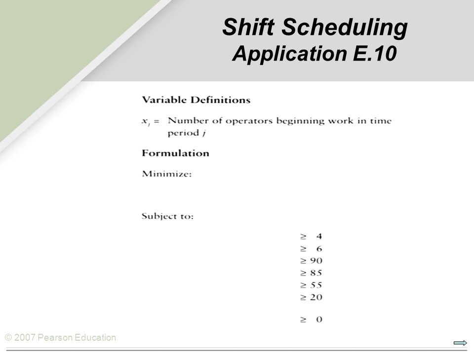 © 2007 Pearson Education Shift Scheduling Application E.10