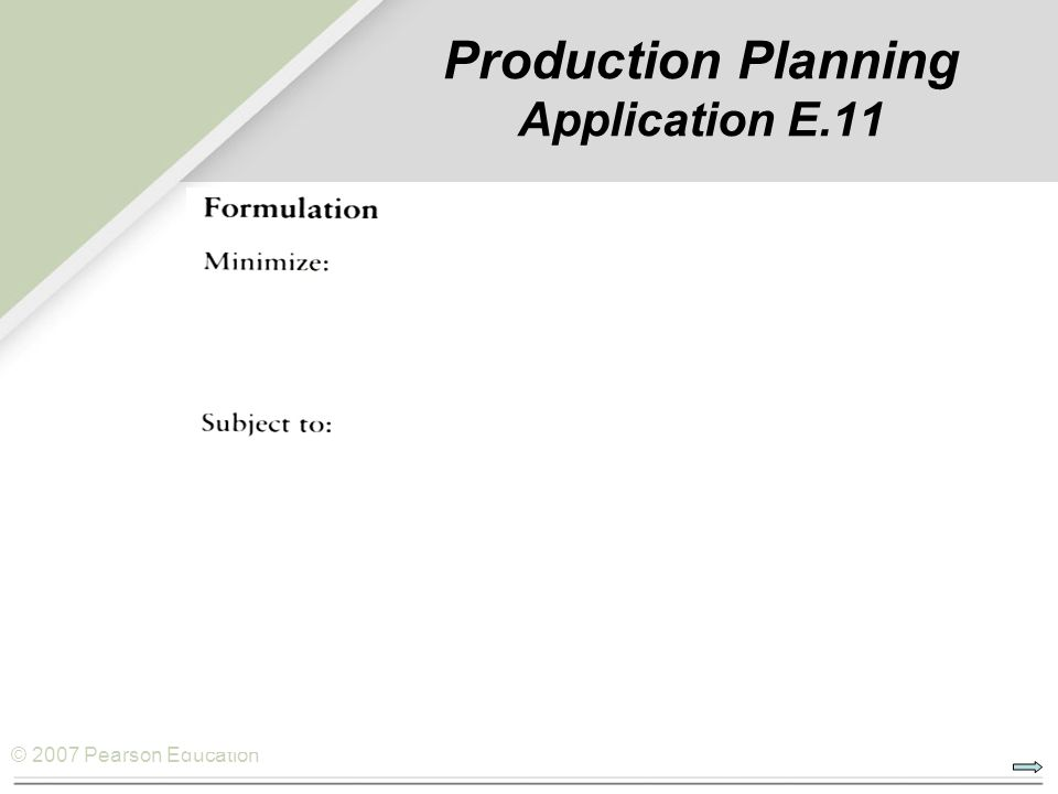 © 2007 Pearson Education Production Planning Application E.11