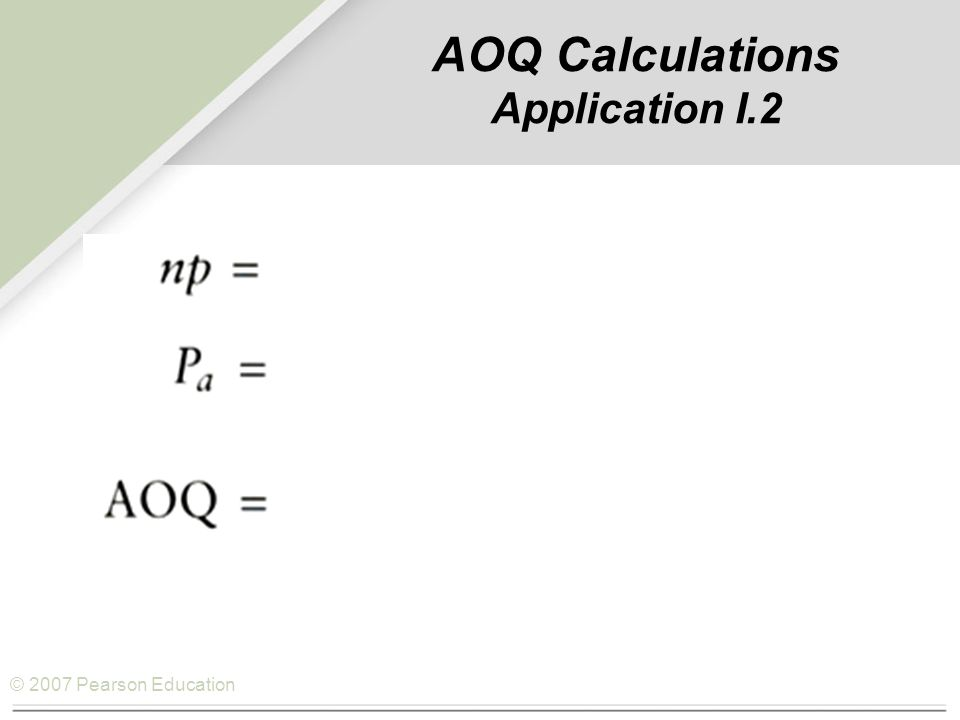 © 2007 Pearson Education AOQ Calculations Application I.2
