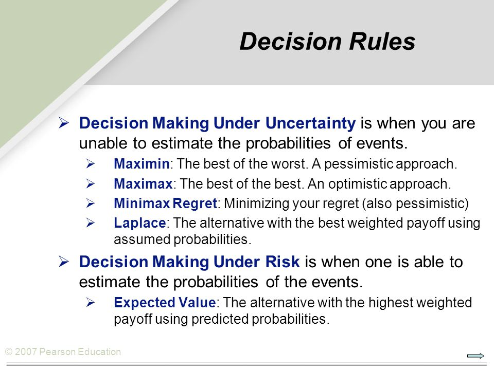 © 2007 Pearson Education Decision Rules  Decision Making Under Uncertainty is when you are unable to estimate the probabilities of events.