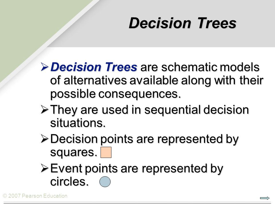 © 2007 Pearson Education  Decision Trees are schematic models of alternatives available along with their possible consequences.