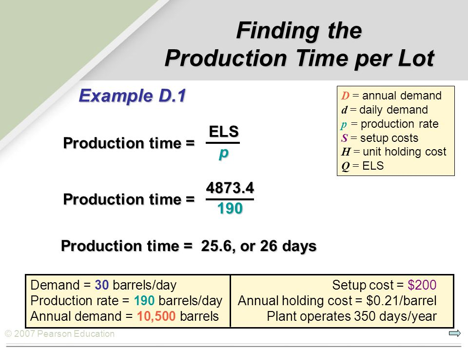 © 2007 Pearson Education Finding the Production Time per Lot Demand = 30 barrels/day Setup cost = $200 Production rate = 190 barrels/day Annual holdin