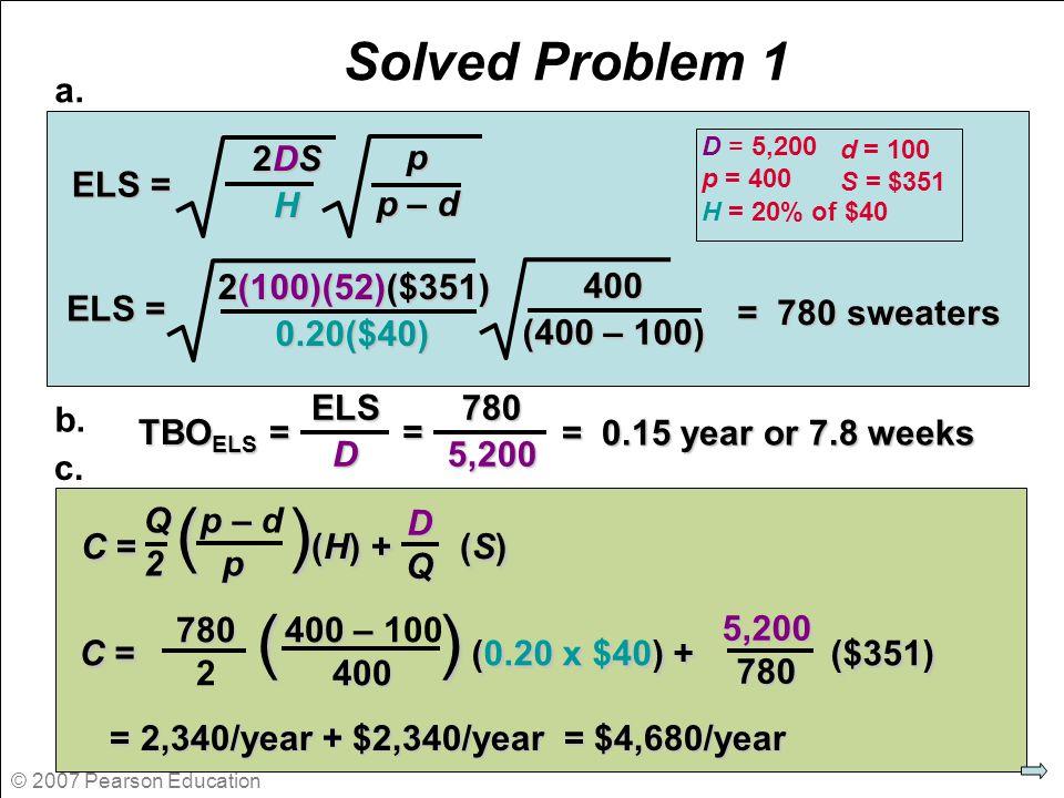 © 2007 Pearson Education Solved Problem 1 ELS = p p – d 2DS2DSHH2DS2DSHHH ELS = 400 (400 – 100) 2(100)(52)($351) 0.20($40) = 780 sweaters TBO ELS = EL