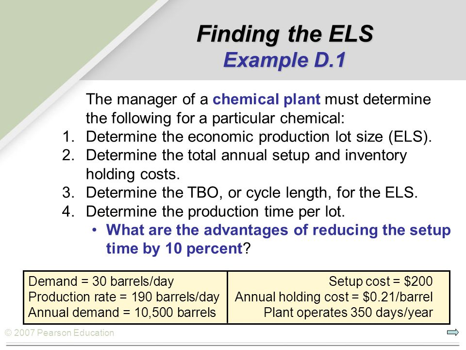 © 2007 Pearson Education Finding the ELS Example D.1 The manager of a chemical plant must determine the following for a particular chemical: 1.Determi