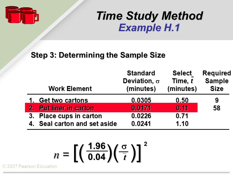 © 2007 Pearson Education Step 3: Determining the Sample Size StandardSelectRequired Deviation,  Time, tSample Work Element(minutes)(minutes)Size Work Element(minutes)(minutes)Size 1.Get two cartons0.03050.509 2.Put liner in carton0.01710.1158 3.Place cups in carton0.02260.71 4.Seal carton and set aside0.02411.10 1.96  0.04 t n = [( )( )] 2 Time Study Method Example H.1