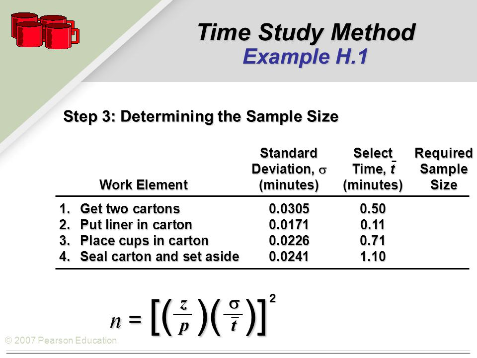 © 2007 Pearson Education Step 3: Determining the Sample Size n = [( )( )] z  p t 2 StandardSelectRequired Deviation,  Time, tSample Work Element(minutes)(minutes)Size Work Element(minutes)(minutes)Size 1.Get two cartons0.03050.50 2.Put liner in carton0.01710.11 3.Place cups in carton0.02260.71 4.Seal carton and set aside0.02411.10 Time Study Method Example H.1