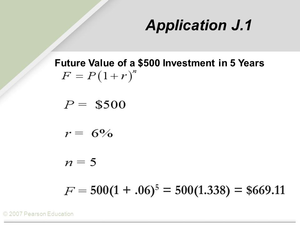 © 2007 Pearson Education Application J.1 Future Value of a $500 Investment in 5 Years 500(1 +.06) 5 = 500(1.338) = $669.11