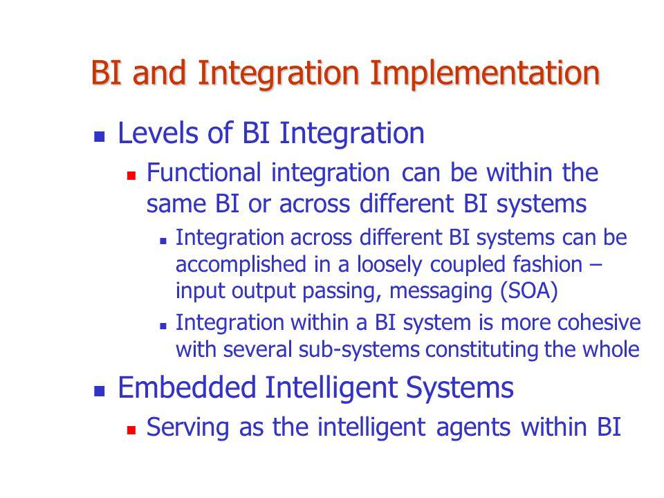 BI and Integration Implementation Levels of BI Integration Functional integration can be within the same BI or across different BI systems Integration