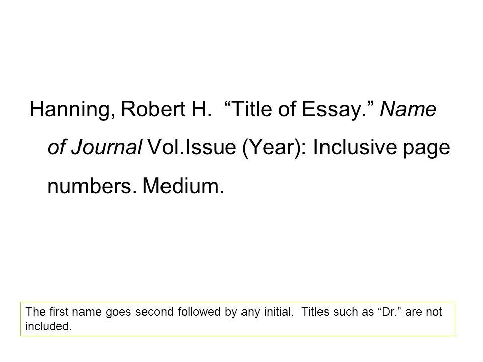 Hanning, Robert H.