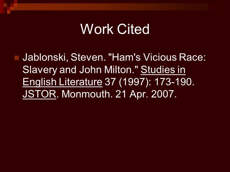 Work Cited Jablonski, Steven.