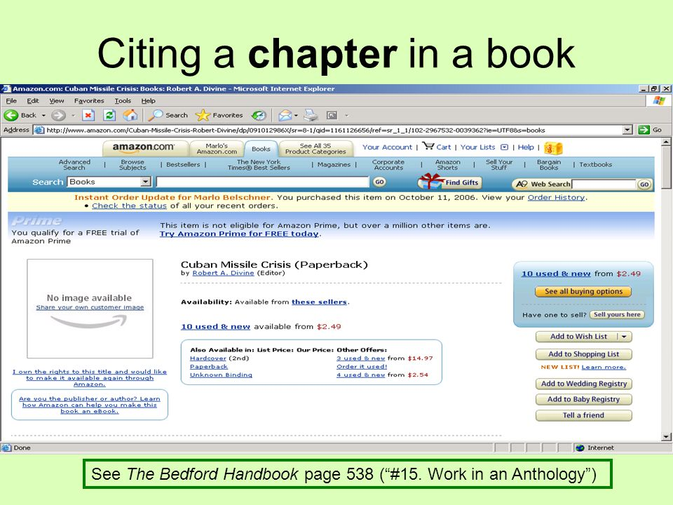 """Citing a chapter in a book See The Bedford Handbook page 538 (""""#15. Work in an Anthology"""")"""