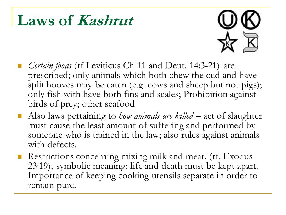 Laws of Kashrut Certain foods (rf Leviticus Ch 11 and Deut. 14:3-21) are prescribed; only animals which both chew the cud and have split hooves may be