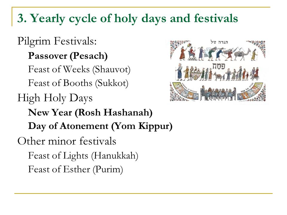 3. Yearly cycle of holy days and festivals Pilgrim Festivals: Passover (Pesach) Feast of Weeks (Shauvot) Feast of Booths (Sukkot) High Holy Days New Y