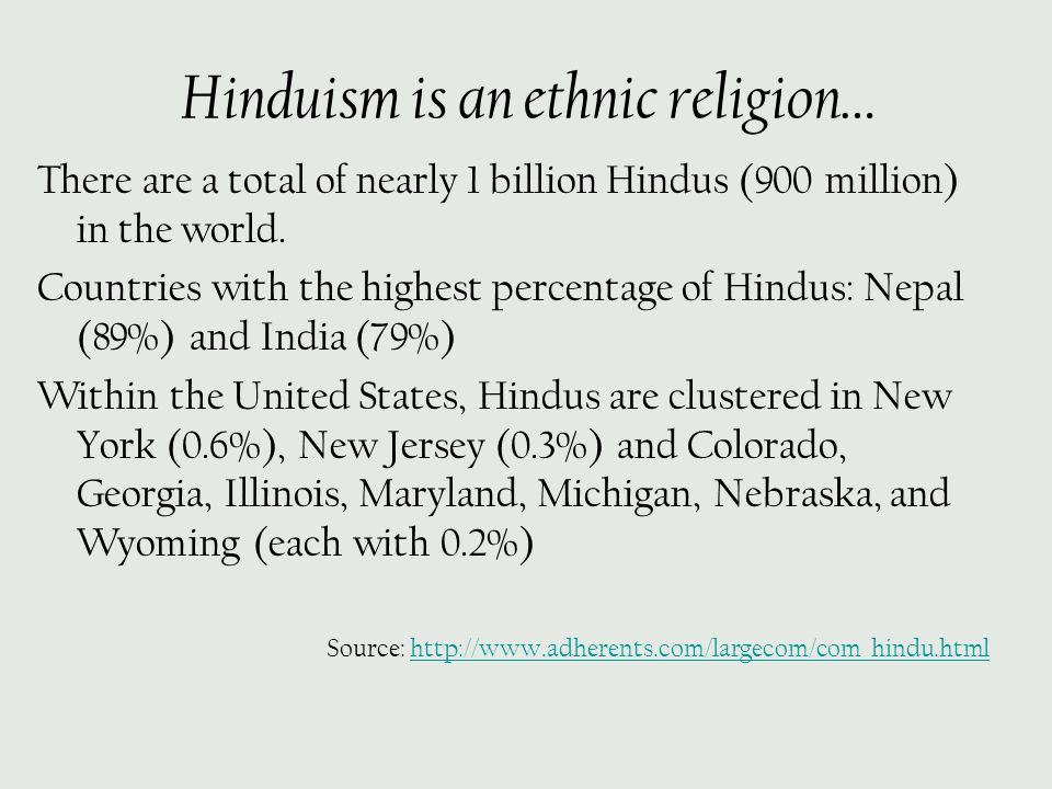 Hinduism is an ethnic religion… There are a total of nearly 1 billion Hindus (900 million) in the world. Countries with the highest percentage of Hind