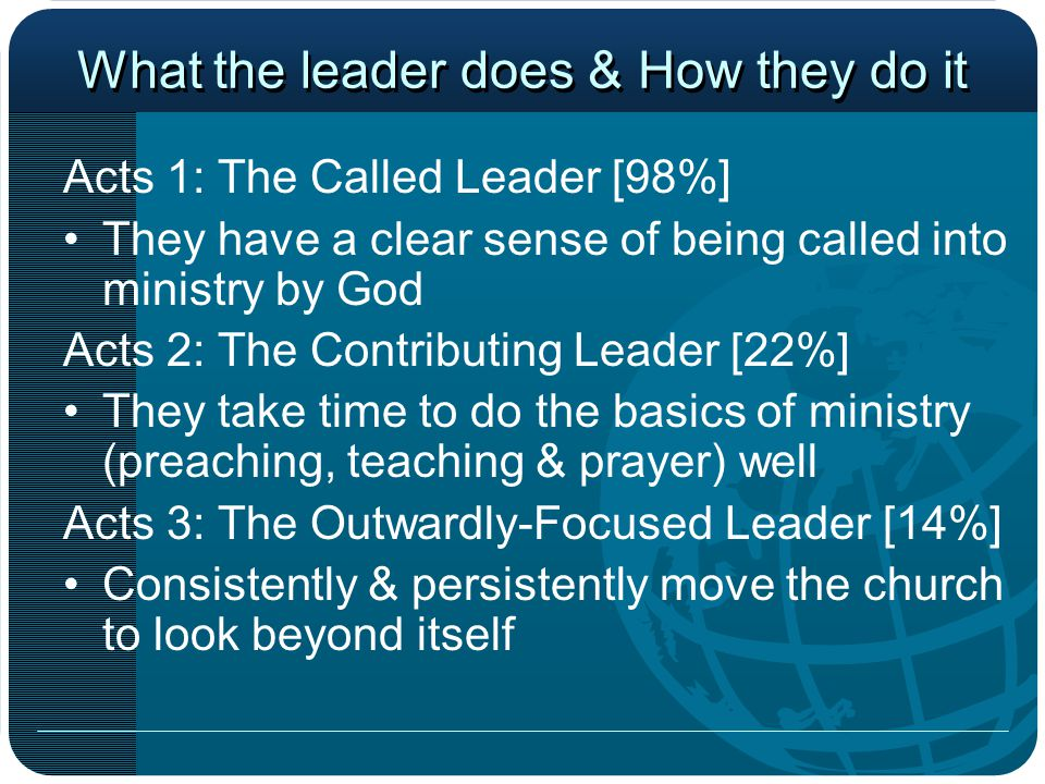 What the leader does & How they do it Acts 4: The Passionate Leader [6%] They have an obvious passion for their ministries that is contagious Acts 5: The Bold Leader [3%] They are willing to take incredible steps of faith and make the tough calls that few others will Acts 6/7: The Legacy Leader [>1%] Seek to equip others for the work of ministry while deflecting recognition from themselves