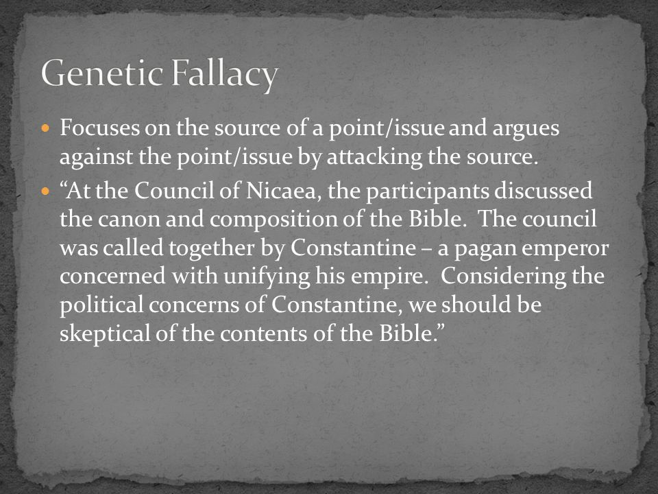 Focuses on the source of a point/issue and argues against the point/issue by attacking the source.