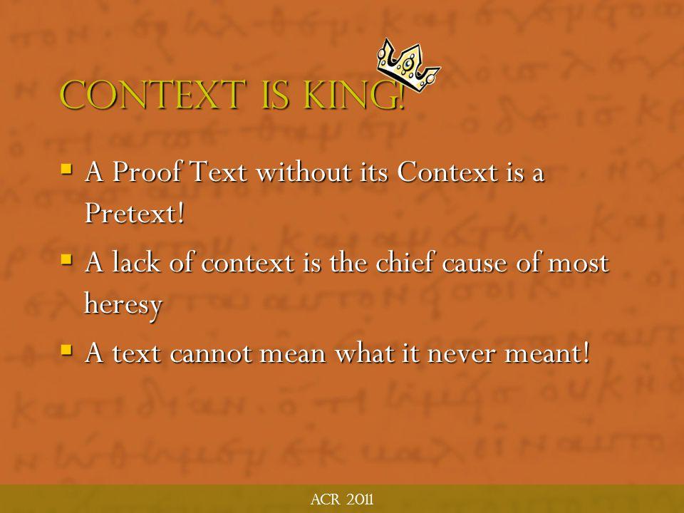 ACR 2011 Investigate the Context Historical Context Notes: Historical Context Notes: